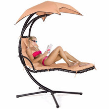 Hanging Chaise Lounge Chair with Stand and Canopy Sun Shade - Beige-Summer-TheWantsies.com