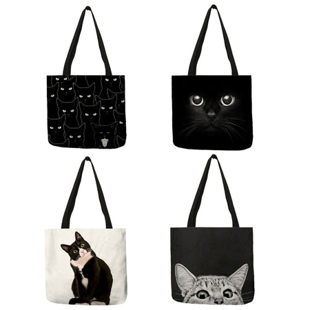 001 Sneaky Spy Cat Tote Kitty Cat Shopping Bag-Top-Handle Bags-TheWantsies.com
