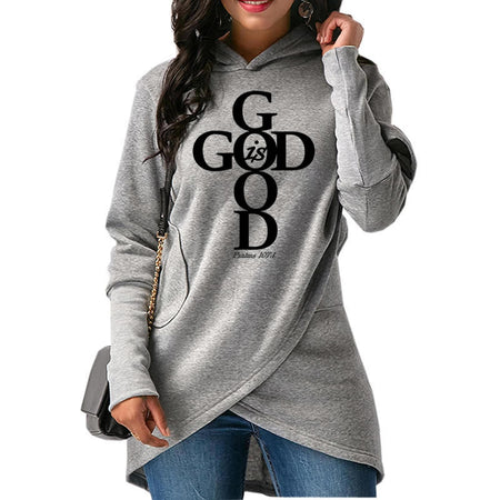 Gray Wantsies Women's God Is Good Hoodie Sweatshirt - Psalms 107:1-Hoodies & Sweatshirts-S-TheWantsies.com