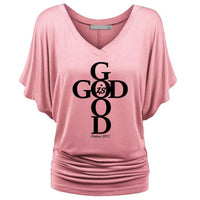 Pink Women's God Is Good Draped Short Sleeve Tshirt - Psalms 107:1-T-Shirts-S-TheWantsies.com