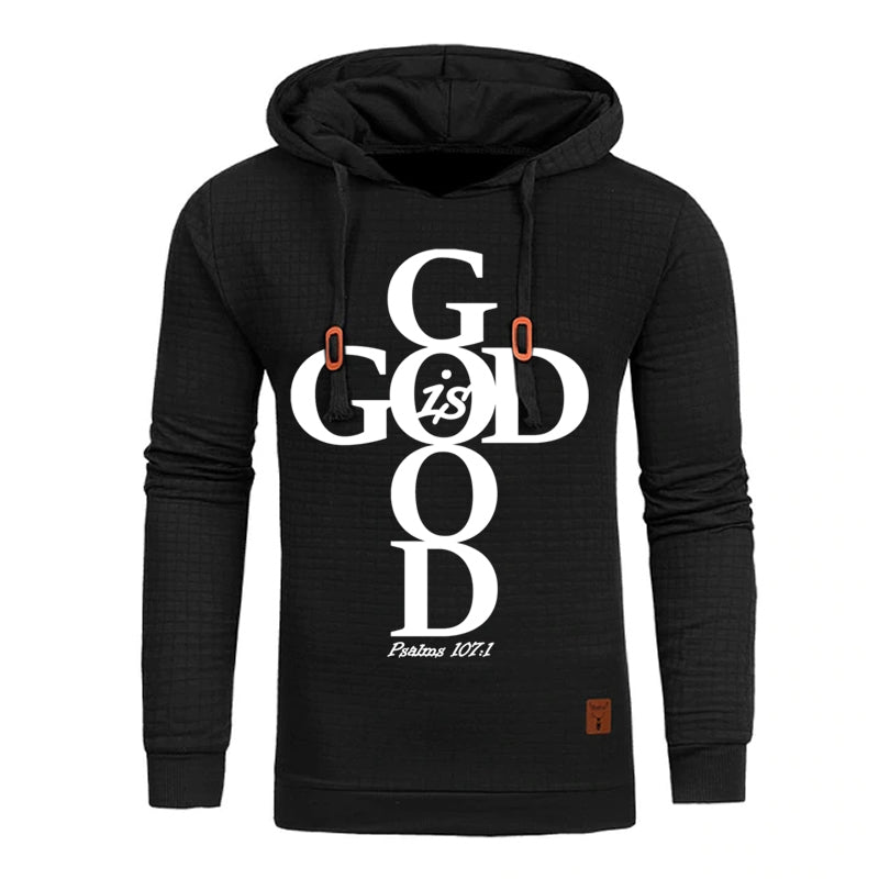 Black Faith God Is Good Hoodie Sweatshirt - Psalms 107:1-Hoodies & Sweatshirts-M-TheWantsies.com