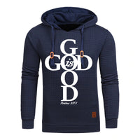 Blue Men's Faith God Is Good Hoodie Sweatshirt - Psalms 107:1-Hoodies & Sweatshirts-M-TheWantsies.com