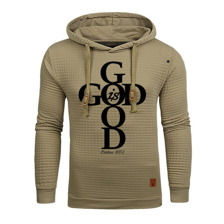 Khaki Men's Faith God Is Good Hoodie Sweatshirt - Psalms 107:1-Hoodies & Sweatshirts-M-TheWantsies.com