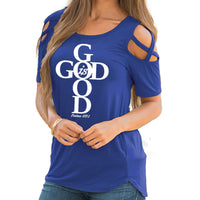 Blue Women's God Is Good Tshirt - Psalms 107:1-T-Shirts-S-TheWantsies.com
