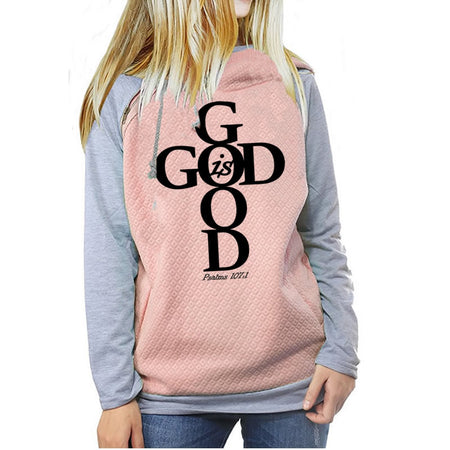 Pink Women's God Is Good Pullover Hoodie Sweatshirt - Psalms 107:1-Hoodies & Sweatshirts-S-TheWantsies.com