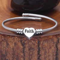 "Wantsie ""Faith"" Heart Bangle Bracelet"
