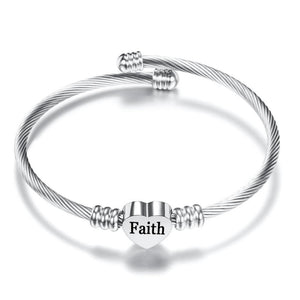 "Wantsie ""Faith"" Heart Bangle Bracelet-Jewelry & Watches-TheWantsies.com"