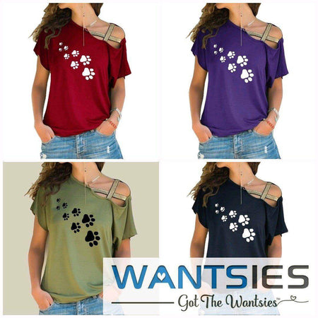 Women's Paw Print Cross Strap Off the Shoulder T-shirt-T-Shirts-TheWantsies.com
