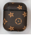 Brown Stars LV Style Protective Case For AirPods 1 & 2 with Carabiner-Protective Cases for Airpods-TheWantsies.com