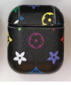Black Colorful LV Style Protective Case For AirPods 1 & 2 with Carabiner-Protective Cases for Airpods-TheWantsies.com