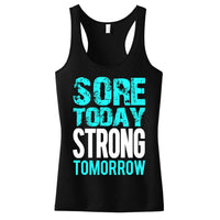 2XL WantsieFit Sore Today STRONG Tomorrow Gym Workout Tank Top-Women's Clothing-TheWantsies.com
