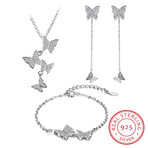 Wantsies 925 Sterling Silver Dazzling Butterfly Tassel Necklace Earring Bracelet Jewelry Set-Jewelry-TheWantsies.com