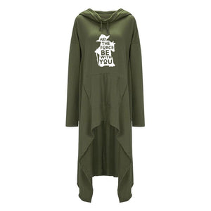 "Green Women's Star Wars ""May the Force Be With You"" Yoda Hoodie Long Duster Sweatshirt-Hoodies & Sweatshirts-L-TheWantsies.com"
