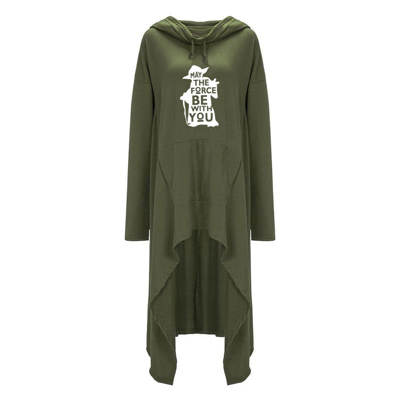 "Large Women's Star Wars ""May the Force Be With You"" Yoda Hoodie Long Duster Sweatshirt-Hoodies & Sweatshirts-Green-TheWantsies.com"