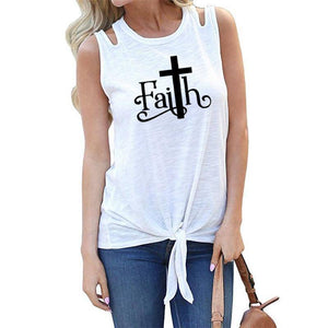 "White Women's Faith with Cross ""T"" Tank Top Sleeveless T-Shirt-T-shirts-S-TheWantsies.com"