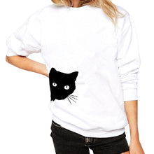 White Women's Sneaky Spy Cat Looking Outside Sweatshirt-Hoodies & Sweatshirts-S-TheWantsies.com
