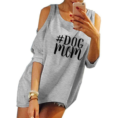 Gray Women's Dog Mom T-Shirt with Peek-A-Boo Shoulder Cutout Sleeves-clothing-S-TheWantsies.com