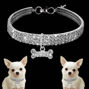 Rhinestone Bling Cute Dog Collar with Hanging Bone Pendant-Collars-TheWantsies.com