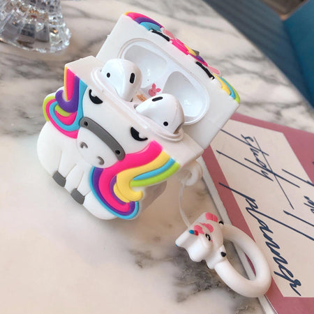 Unicorn Cartoon Shockproof Protective Case For AirPods 1 & 2 with Ring-Protective Cases for Airpods-TheWantsies.com