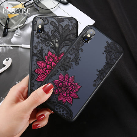 For iPhone XS Max Wantsies Vintage Lace Flower Case For iPhone XR 5S 5 Se 6 7 8 Plus 11 Pro 11 Pro max XS Max XR X - Hot Kisscase-Fitted Cases-Red-TheWantsies.com