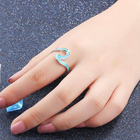 925 Sterling Silver Blue Opal Ocean Wave Ring-Jewelry-TheWantsies.com