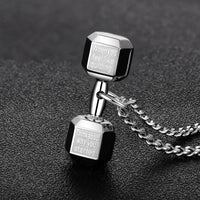 "WantsieFit Inspirational Weightlifting Dumbbell Necklace ""When You Feel Like Quitting, Remember Why You Started""-Pendant Necklaces-TheWantsies.com"