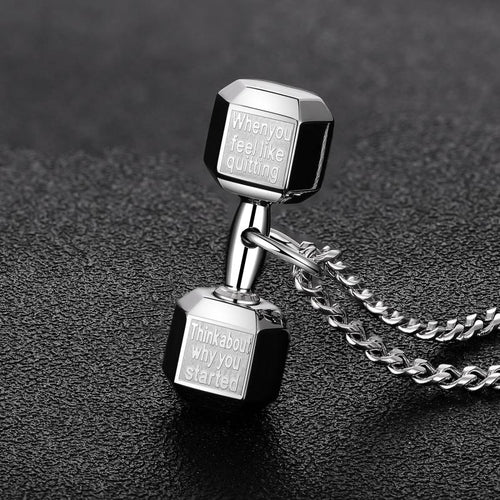 WantsieFit Inspirational Weightlifting Dumbbell Necklace