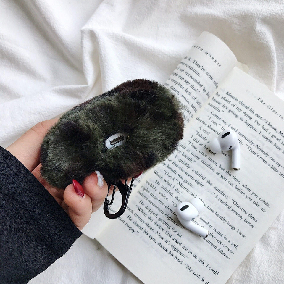 Designer Leopard Skin Soft Fur Protective Case For AirPods Pro with Carabiner-Protective Cases for Airpods-TheWantsies.com