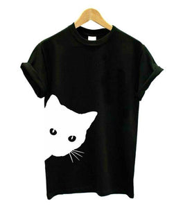 Black Women's Sneaky Spy Cat Looking Outside T-shirt-T-Shirts-XXS-TheWantsies.com