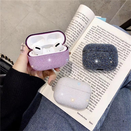 Black Bling Glitter Diamonds Sparkly Shockproof Protective Case For AirPods Pro 3 with Carabiner-Protective Cases for Airpods-TheWantsies.com
