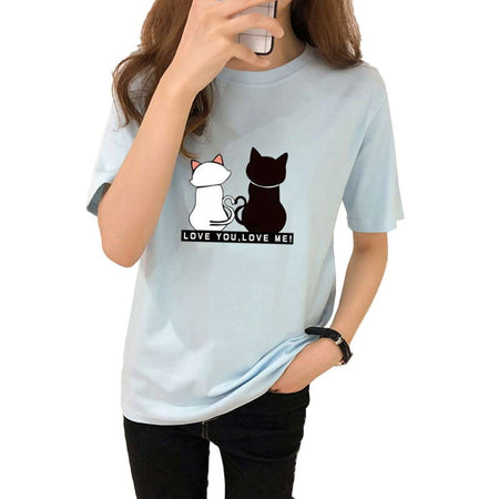Wantsies Women's Black and White Two Cats Love Tee Tshirt-T-Shirts-TheWantsies.com