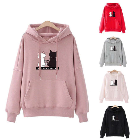 Women's Black and White Cat Love Hoodie Sweatshirt-Hoodies & Sweatshirts-TheWantsies.com