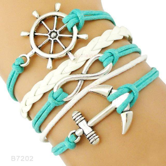 B7202 Nautical Sailing Boating Charm Bracelet-Charm Bracelets-TheWantsies.com
