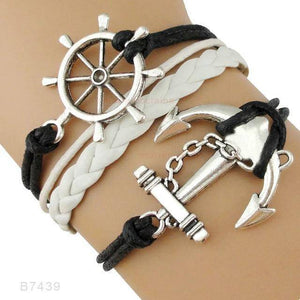B7439 Nautical Sailing Boating Charm Bracelet-Charm Bracelets-TheWantsies.com