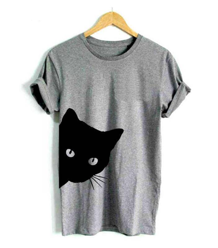 Women's Sneaky Spy Cat Looking Outside T-shirt-T-Shirts-TheWantsies.com