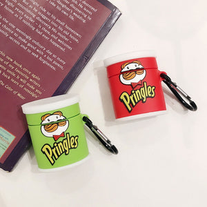 Green Potato Chips Can Shockproof Protective Case For AirPods 1 & 2 with Carabiner-Protective Cases for Airpods-TheWantsies.com