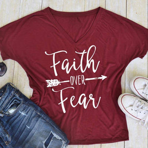Burgundy Women's Faith Over Fear V-Neck T-Shirt-clothing-S-TheWantsies.com