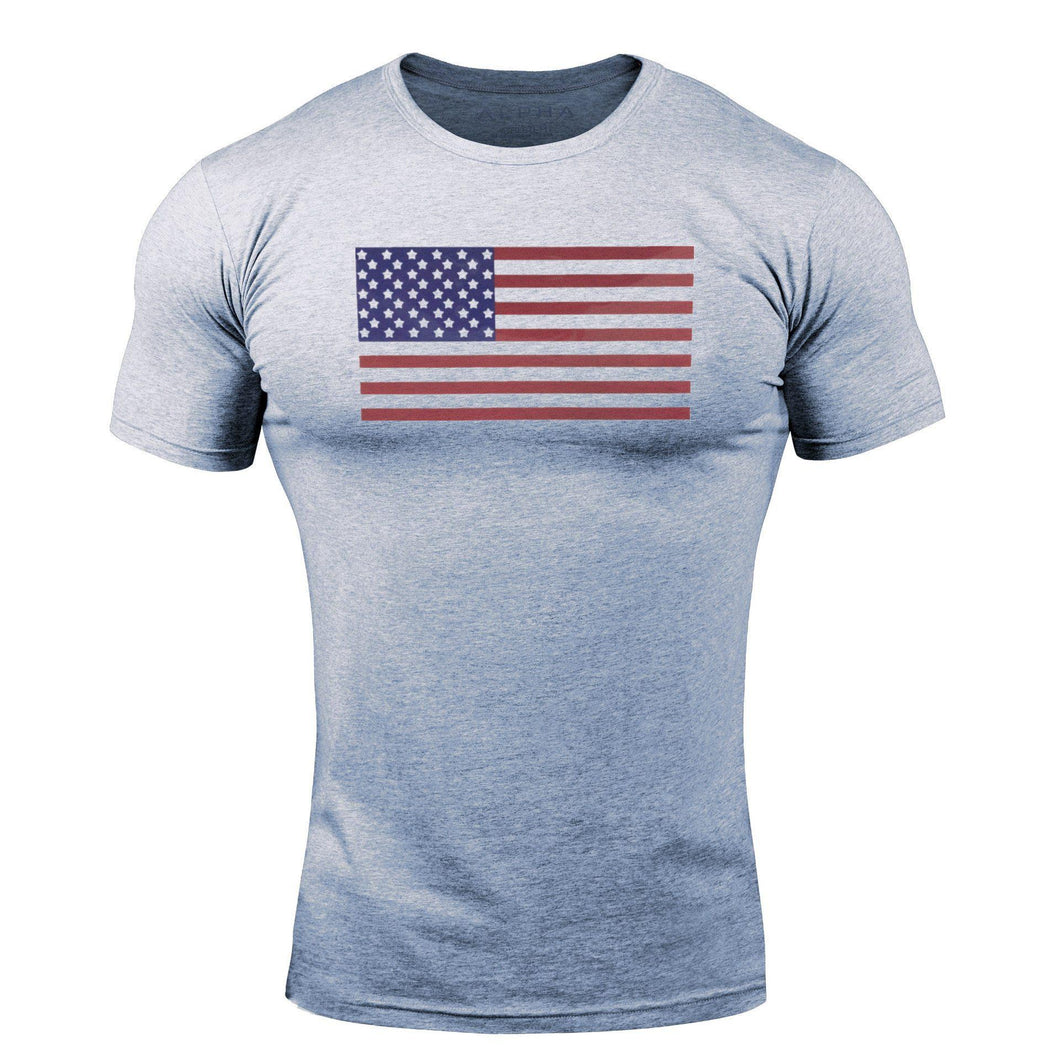 Gray Flag WantsieFit Mens American Flag Fitness Compression T-Shirt - Bodybuilding Athletic Fit-T-Shirts-M-TheWantsies.com