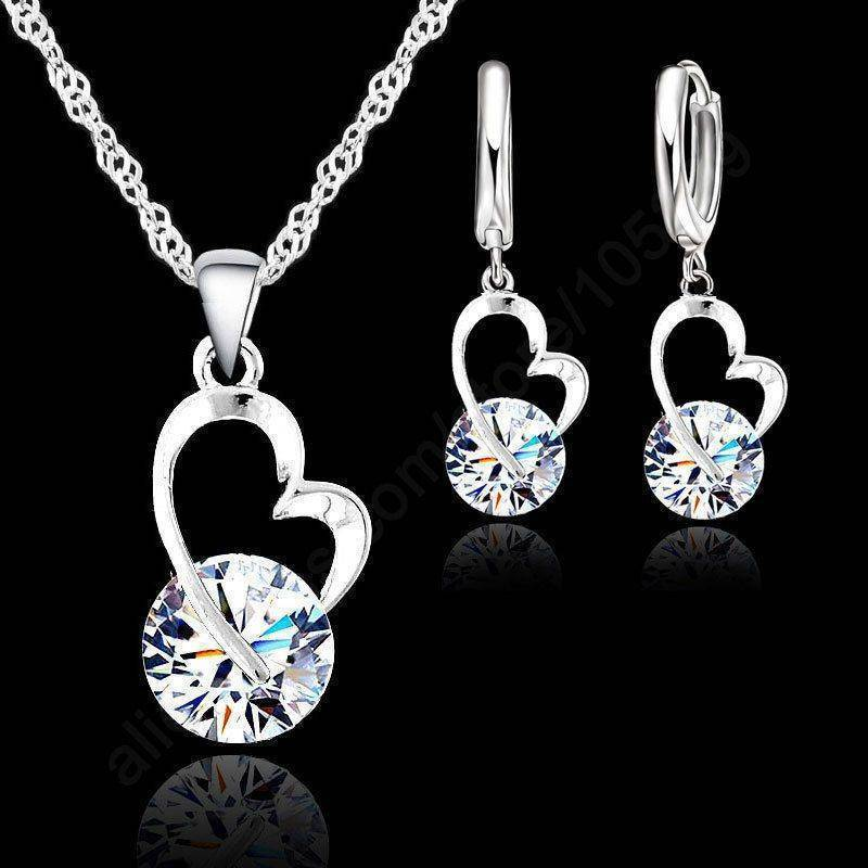925 Sterling Silver Heart Necklace and Heart Dangle Earrings Jewelry Set-Jewelry-TheWantsies.com