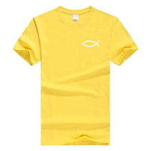 x-Yellow-b Men's Faith Christian Jesus Fish Ichthys T-Shirt-T-Shirts-M-TheWantsies.com