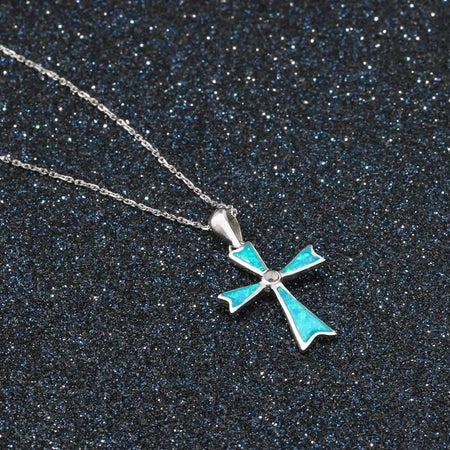 925 Sterling Silver Blue Opal Stone Cross Jewelry Pendant Faith Necklace-Jewelry-TheWantsies.com