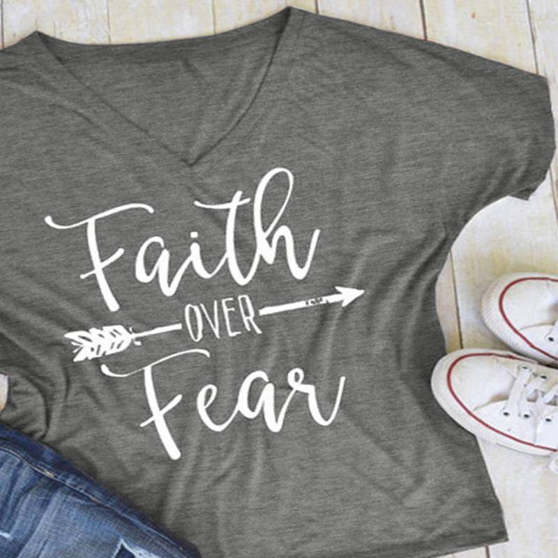 Gray Women's Faith Over Fear V-Neck T-Shirt-clothing-S-TheWantsies.com