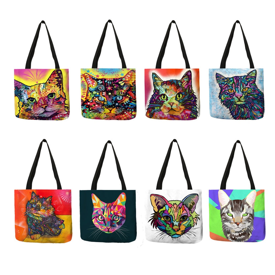 Colorful Cat Lover Oil Painting Tote Shopping Bag-Top-Handle Bags-TheWantsies.com