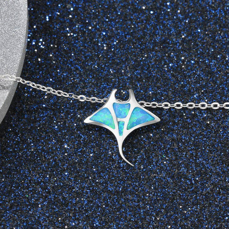 925 Sterling Silver Mobula Ray Blue Opal Pendant Necklace-Jewelry-TheWantsies.com