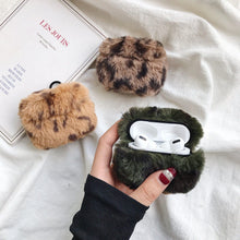 Deep Green Designer Leopard Skin Soft Fur Protective Case For AirPods Pro with Carabiner-Protective Cases for Airpods-TheWantsies.com