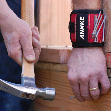 CSW002RE Magnetic Tools Wristband with Strong Magnets for Holding Screws, Nails, Drill Bits and More-Tools-TheWantsies.com