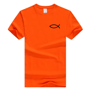 x-Orange Men's Faith Christian Jesus Fish Ichthys T-Shirt-T-Shirts-M-TheWantsies.com