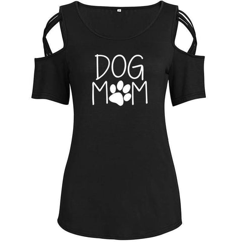 Image of Black Women's Dog Mom with Paw Print T-Shirt with Cut-Out Shoulders-T-Shirts-S-TheWantsies.com