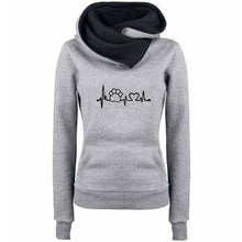 Women's Paw Print Love Pullover Hoodie Sweatshirt with Turn Down Collar-Hoodies & Sweatshirts-TheWantsies.com