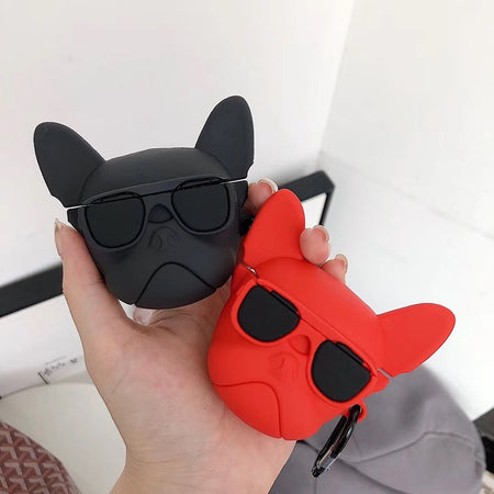 Cool Pet French Bulldog with Sunglasses Silicone Shockproof Protective Case For AirPods with Carabiner-Protective Cases for Airpods-TheWantsies.com